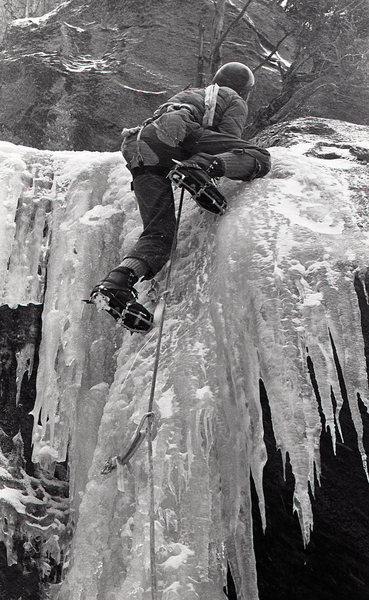 Another historic shot- the amazing mixed climbing at West Elden after a snow-rain-freeze event, late 70s