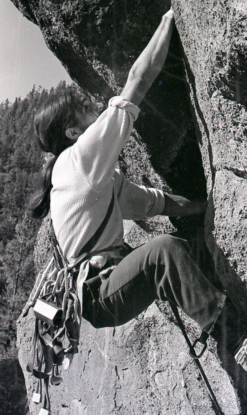 Rock Climbing Photo: Paul Davidson on the FA of Retirement Crack in the...