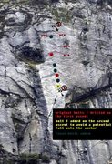 Rock Climbing Photo: Original bolts shown in red. Yellow and green I ad...