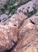 Rock Climbing Photo: Looking down at P1 from the belay ramp.