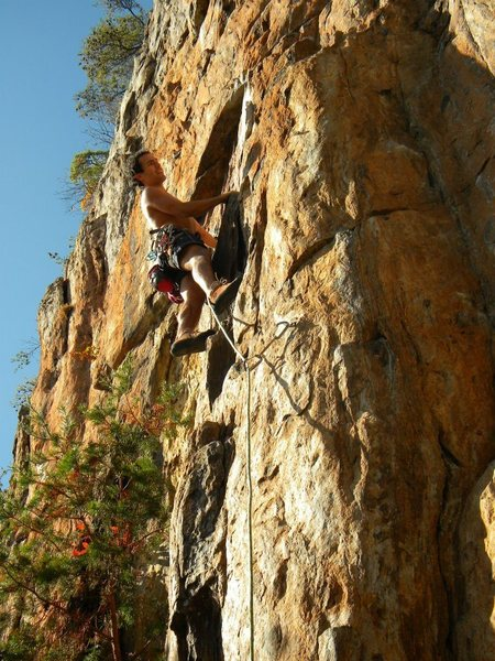 Rock Climbing Photo: Red Wall  Opinionated (5.9+) sport  Crowders Mount...