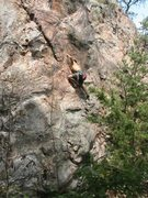 Rock Climbing Photo: Rawlhide Wall  Cro-Magnon and Bullwinkle (5.10) sp...