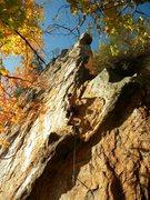 Rock Climbing Photo: Red Wall  The Gimp (5.10d) sport  Crowders Mountai...