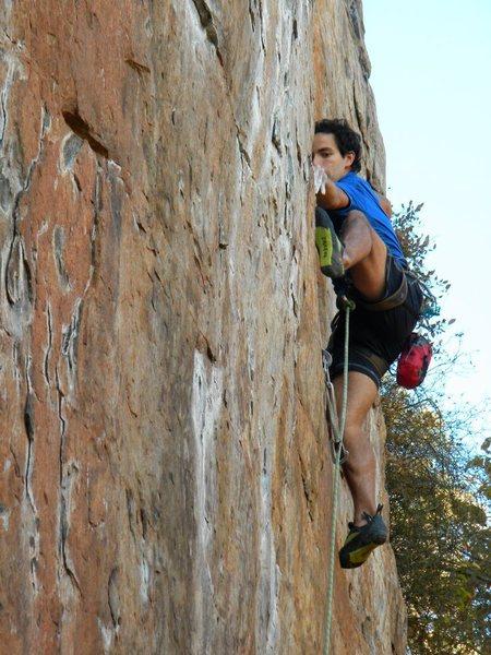 Red Wall <br> <br> Fashion (5.12b) sport<br> <br> Crowders Mountain State Park, North Carolina