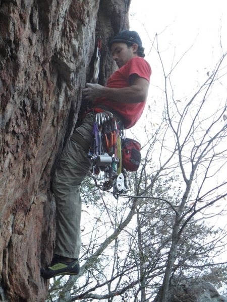 Rawlhide Wall<br> <br> Arborcide (5.9+) trad<br> <br> Crowders Mountain State Park, North Carolina