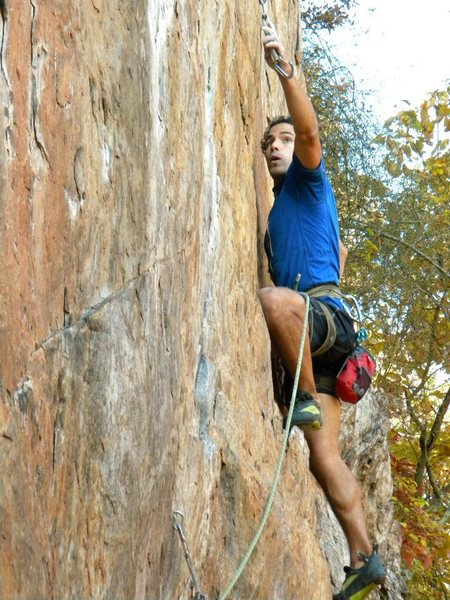 Red Wall<br> <br> Fashion (5.12b) sport<br> <br> Crowders Mountain State Park, North Carolina