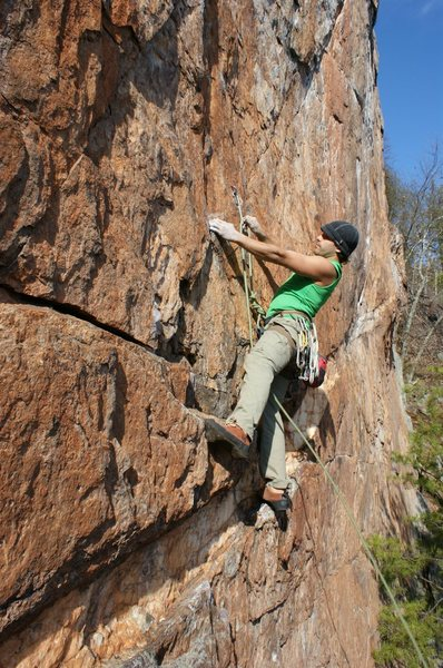 Red Wall<br> <br> Axis(Bold as Love) (5.11d) mixed<br> <br> Crowders Mountain State Park, North Carolina