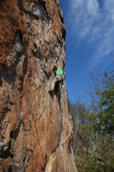 Red Wall<br> <br> Axis(Bold as Love) (5.11c/d) mixed<br> <br> Crowders Mountain State Park, North Carolina