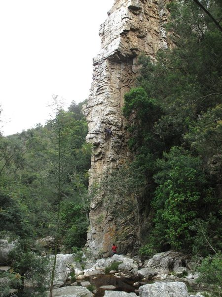 Climbing Mithral, Route on the Old Forest Crags, Outside of Crags South Africa, Western Cape. Epic Climb. Epic Adventure just to find it. Baboons screaming at us, loose rocks falling.