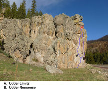 Rock Climbing Photo: Topo of Udder Limits & Udder Nonsense