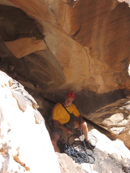sloping ledge belay spot,