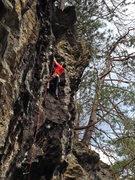 Rock Climbing Photo: Lucas following his spirit wolf through the upper ...