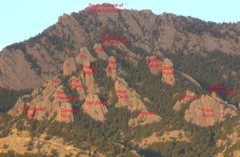 Rock Climbing Photo: Added text identifying formations on Dinosaur Moun...