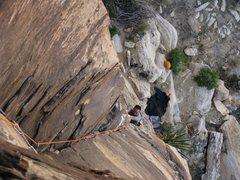 Rock Climbing Photo: Joe Lee pulling the crux start move.