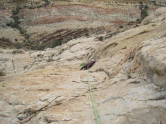 Rock Climbing Photo: Looking down the top part of P2.