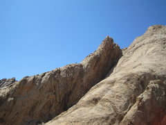 Rock Climbing Photo: Tele Photo..Climber on the 4th class section.Below...