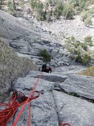 Rock Climbing Photo: Artley about to finish P1