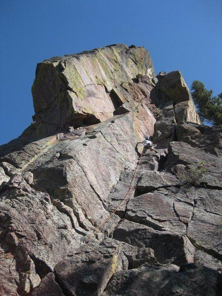 Rock Climbing Photo: Clint Locks halfway up Ghetto Cruiser, contemplati...