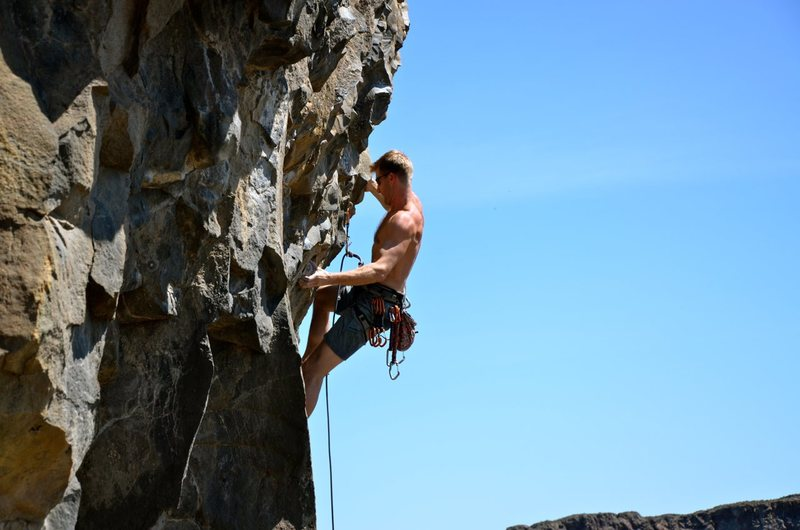 Working the crux between the second and third bolts on Appassionata Sonata