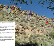 Rock Climbing Photo: Beta photo with lead climbs shown and labeled.