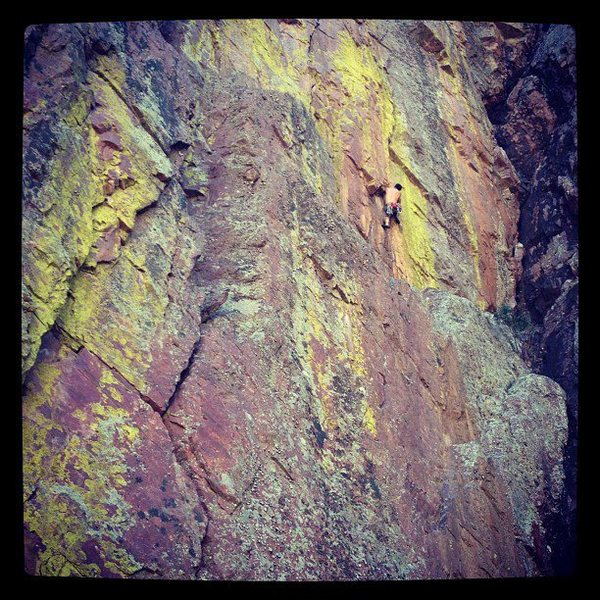On the second pitch of Transmission.  Fantastic climb.  Link P1&2 for 110' of fun.