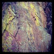 Rock Climbing Photo: On the second pitch of Transmission.  Fantastic cl...