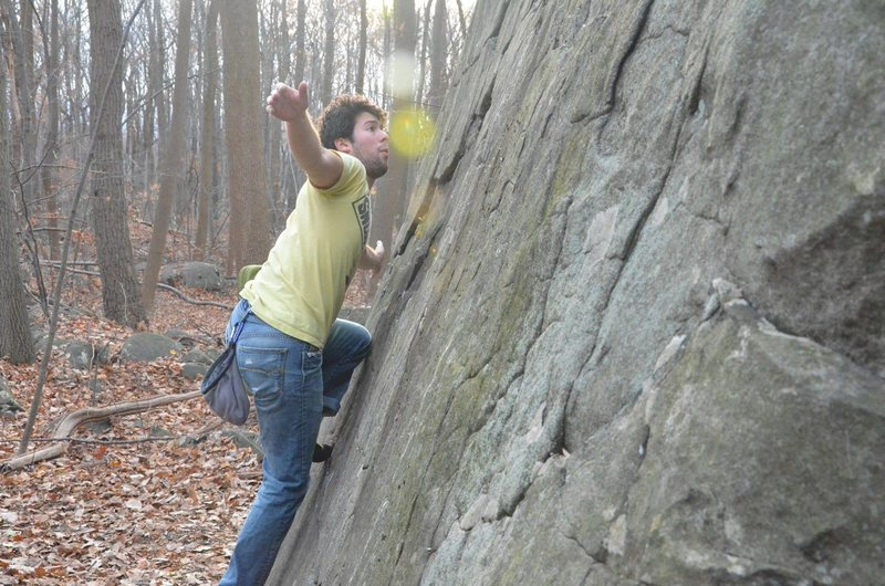 Rock Climbing Photo: The slabby side of the main bloc makes for a fun n...