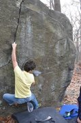 Rock Climbing Photo: Adam Libert making the crux first move on The Plug...