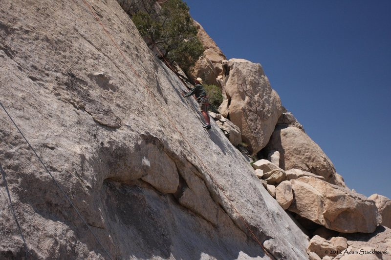 Dave climbing the rightmost route on Hidden Slab called......?<br> 5.9
