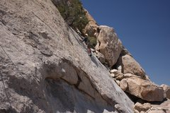 Rock Climbing Photo: Dave climbing the rightmost route on Hidden Slab c...