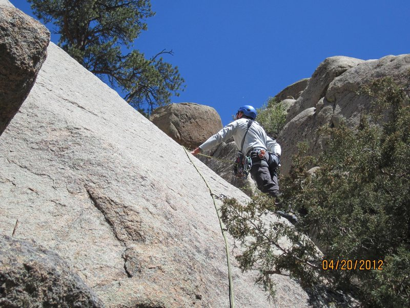 Rock Climbing Photo: Starting up Shangri-La Slab. The book says 10a, mo...