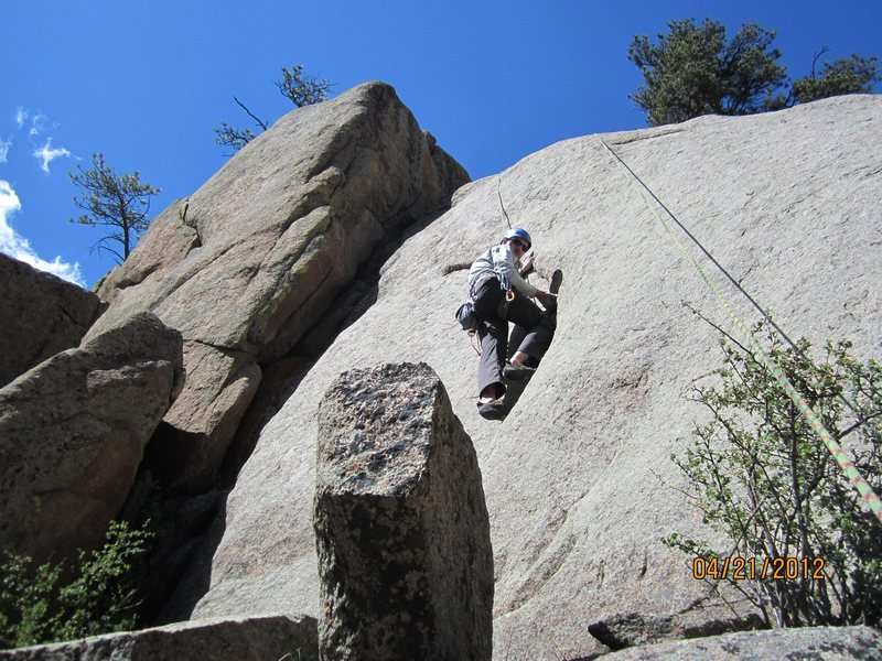 Rock Climbing Photo: Unprotected 5.11 crescent left of the start of &qu...