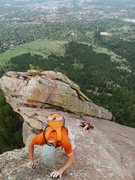 Rock Climbing Photo: Yannick and Shirley on their first Flatiron solo.