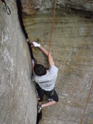 Rock Climbing Photo: Santiago learning to place gear on Star Bellied Sn...