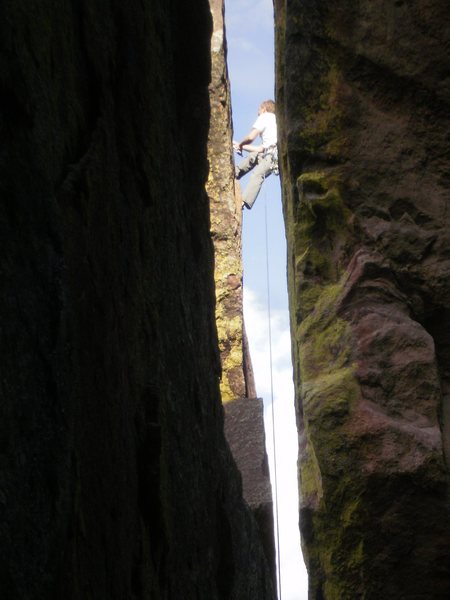 Rock Climbing Photo: sorry,  another chimney photo...  This route is ju...