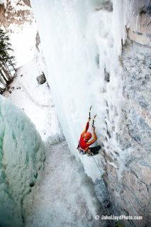 Rock Climbing Photo: Late season ice, climbing ice in nothing but a bas...