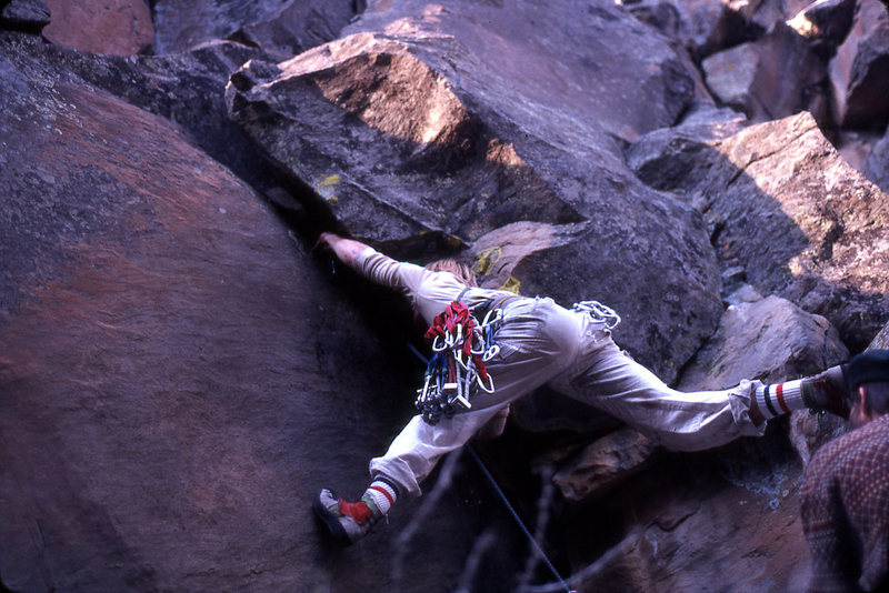 First ascent of Trapeze (looks like we need to add Paul Davidson to the FA- he's belaying.