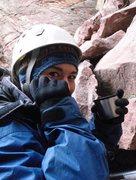 Rock Climbing Photo: Freezing but smiling in Eldo