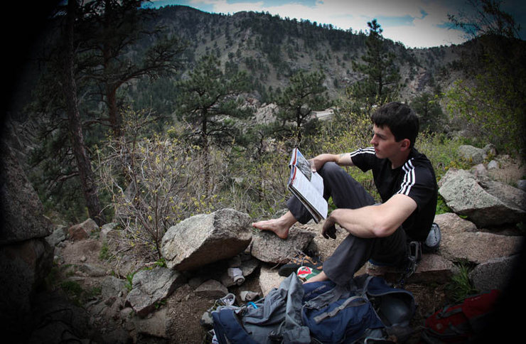 Rock Climbing Photo: Erick Valler reading up on The Dome; Boulder Canyo...