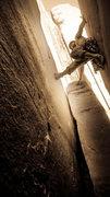 Rock Climbing Photo: Ybarra on Sunflower Tower; East Face
