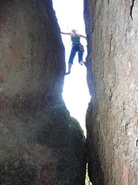 Denise stepping out of the chimney on Sinbad 5.6
