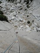 Rock Climbing Photo: Mark Collar following P1 of Bony Fingers