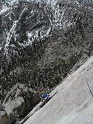 Rock Climbing Photo: Mark Collar following P2, 5.10a, MSMR