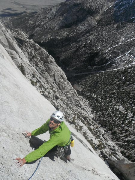 Rock Climbing Photo: Richard Shore nearing the end of P3, 5.10+, MSMR. ...