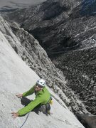 Rock Climbing Photo: Richard Shore nearing the end of P3, 5.10+, MSMR. ...