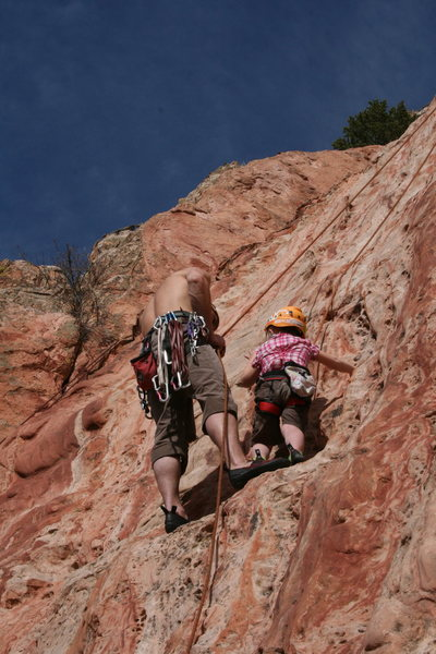 Dad helping me out on the crux