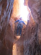 Rock Climbing Photo: Bill struggling on the final chimney section.