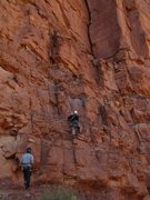 Rock Climbing Photo: Climbing pitch 1 to retrieve a stuck rope.