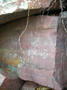 Rock Climbing Photo: Graffito clean-up 4-22-12 BEFORE.  This was found ...