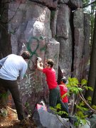 Rock Climbing Photo: Hoofers crew making an attempt to clear the graffi...